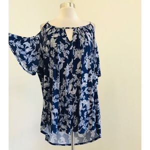 Torrid Blue & White Floral Cold Shoulder Top 1X